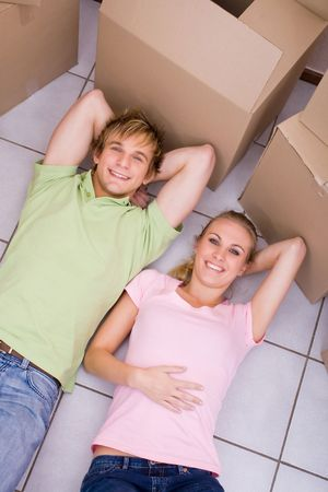 couple in new house photo