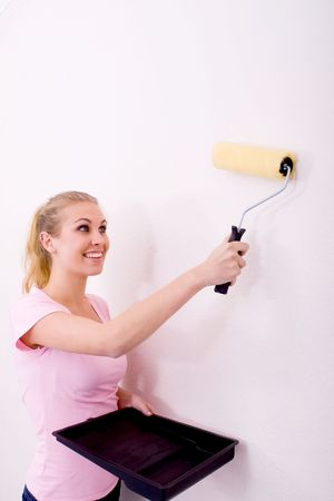 girl painting apartment photo