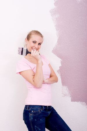 girl painting home Stock Photo - 5499891