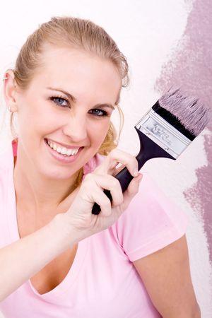 fun woman painting home photo