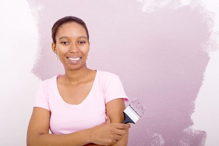 happy african american woman painting photo