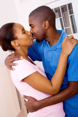 african american couple kissing Stock Photo - 5493216