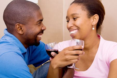 african american couple celebrate photo