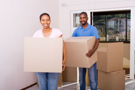 young african american coule moving house photo