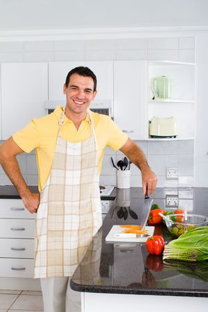 aprons: man in kitchen