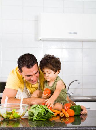 make love: happy family in kitchen