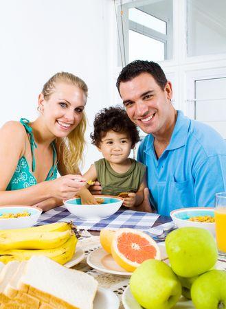 happy family breakfast photo