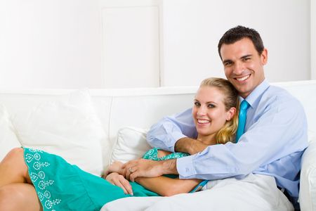 couple relaxing at home photo