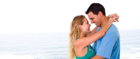 lovely young couple hugging photo