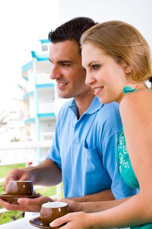 couple drinking cofee photo