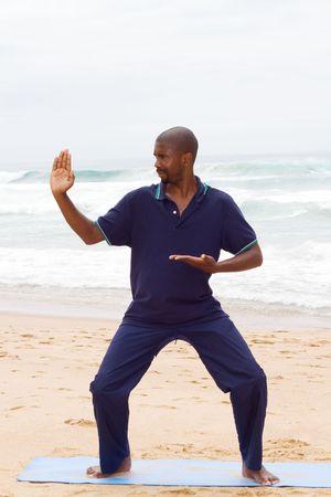 tai chi on beach photo