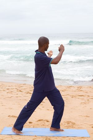 young african man practicing kung fu on beach photo