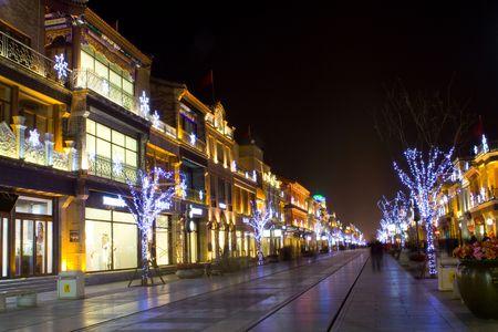 symbols commercial: Night Beijing street Stock Photo