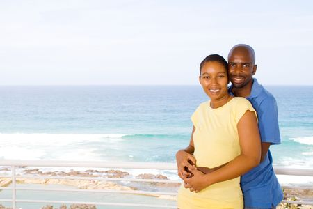 african couple on seaside vacation