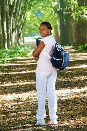 student wallking to class through park Stock Photo - 6652139