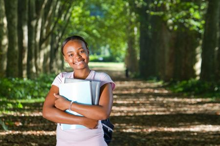 african american student outdoors photo