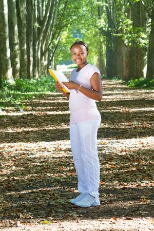 african american student in park Stock Photo - 6652017