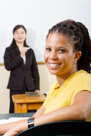 happy african adult student and teacher photo