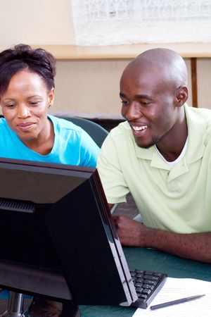 adult african american computer students photo