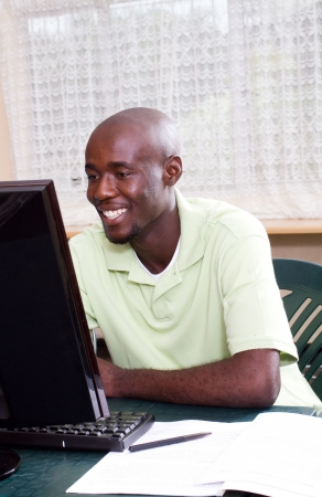 male adult african computer student Stock Photo - 6639046