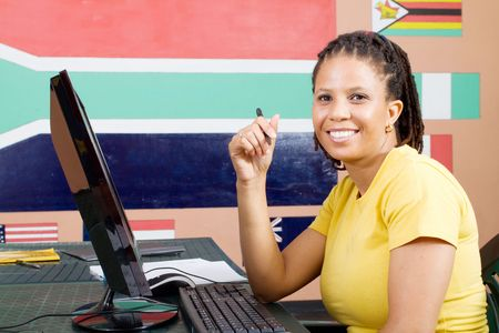 happy adult african american computer student Stock Photo - 6639040