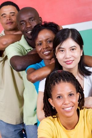 chinese flag: happy young south african people