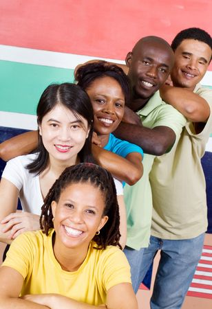 south african flag: portrait of south african youth