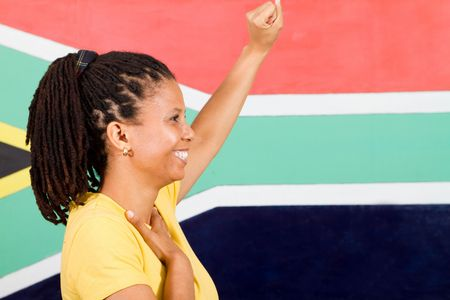 patriotic south african woman photo