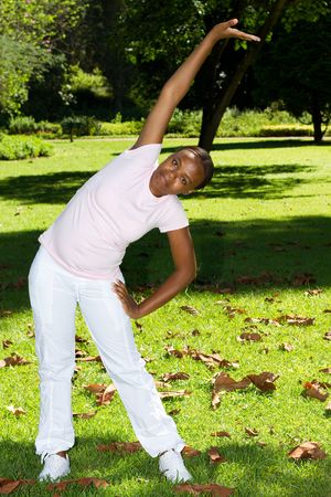 african woman stretching photo