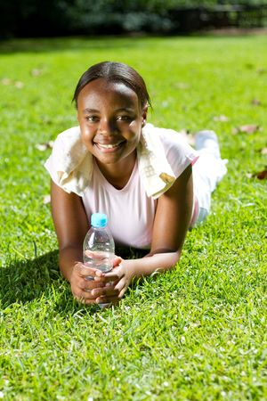 carefree african american girl photo