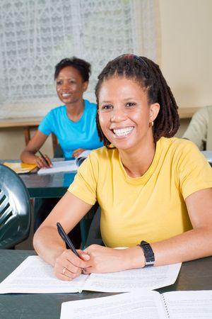 studious: happy african american freshman student