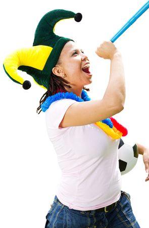 fanatical: soccer fan blowing vuvuzela