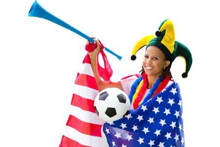 fanatical: african american football fan Stock Photo