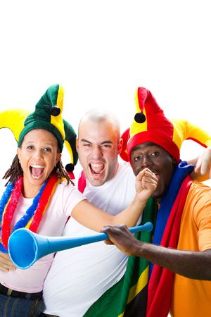 cheering fans: group of excited sports fans Stock Photo