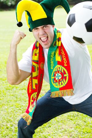 enthusiastic portuguese soccer fan photo
