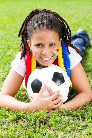 fanatical: cheerful soccer fan