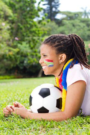 fanatical: pretty soccer fangirl Stock Photo