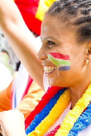 pretty south african sports fan at game Stock Photo