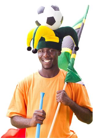 happy south african soccer fan photo