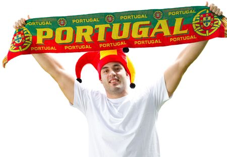 portuguese sports fan holding banner photo