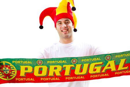 fanatical: portuguese soccer fan Stock Photo