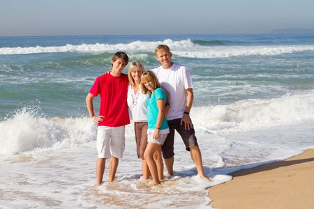 happy family on beach photo