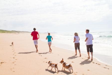 dog days: familia activa que se ejecutan en la playa