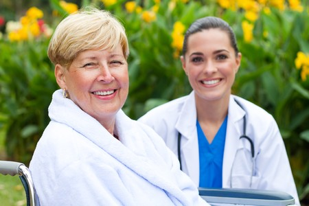 female patient and doctor outdoors photo