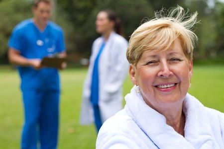 happy senior patient outdoors photo