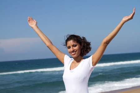 indian summer: cheerful young indian womanA Stock Photo