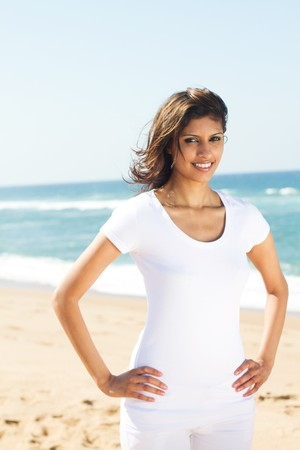healthy young woman on beach photo