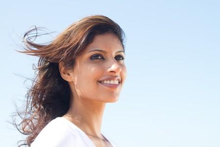 female face closeup: portrait of beautiful arabic woman Stock Photo