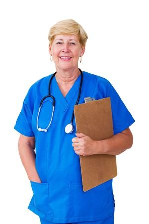 happy senior nurse holding clipboard photo