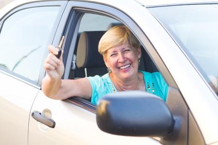 happy senior woman driver photo